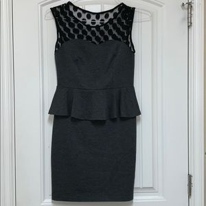 Grey and black peplum business dress- M